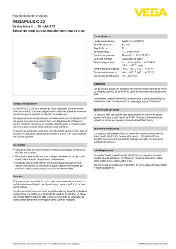 Hoja de datos del producto VEGAPULS C 22