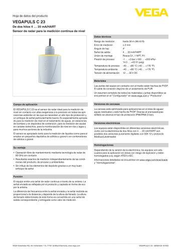Hoja de datos del producto VEGAPULS C 23
