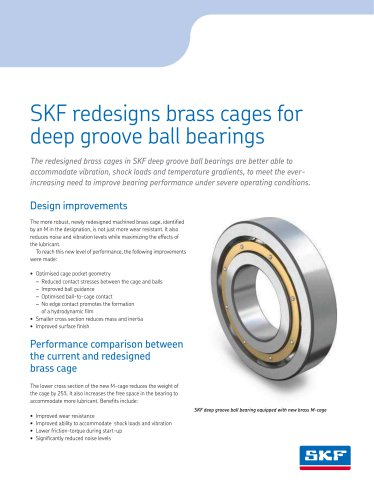 SKF redesigns brass cages for deep groove ball bearings