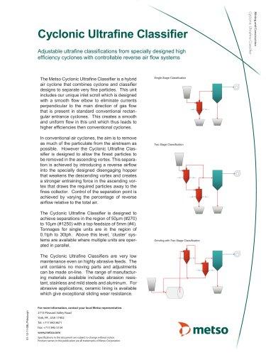 Cyclonic Ultrafine Classifier Technical Data Sheet
