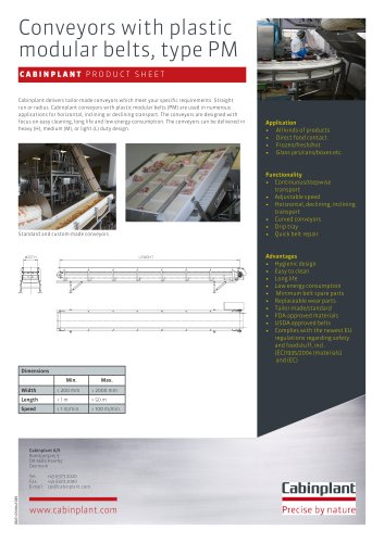 Conveyors with plastic modular belts, type PM