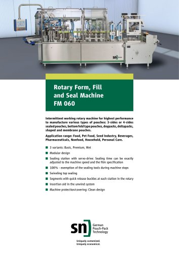 Rotary Form, Fill and Seal Machine FM 060