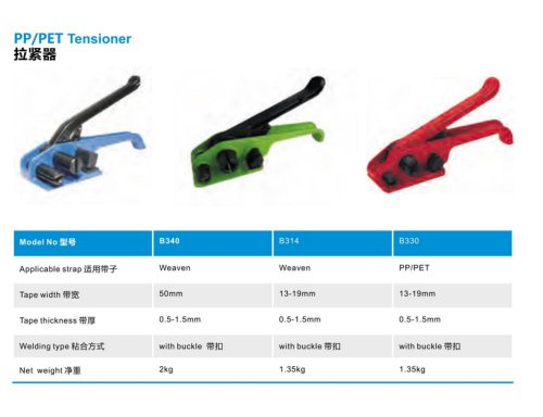 manual strapping device and tensioner / for PP-PET straps B3xx series